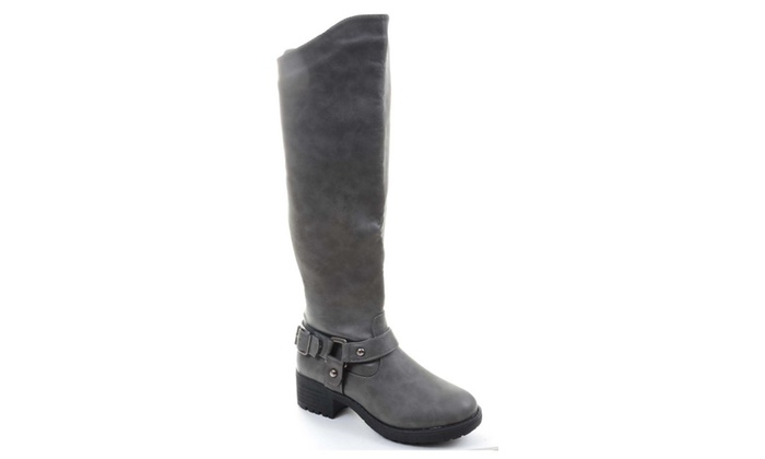 Grey Faux Leather Buckle Strap Knee High Riding Boots Nb200-48