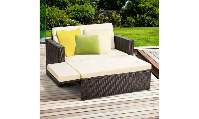 Cool Up To 30 Off On Costway 2Pcs Patio Rattan Lov Groupon Unemploymentrelief Wooden Chair Designs For Living Room Unemploymentrelieforg