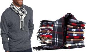 (6-Pack) Men's Plaid Patterned Soft Fleece Scarves
