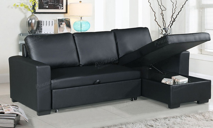 SIMPLE RELAX Black Convertible Sectional Sofa with Pull-out bed and Chaise