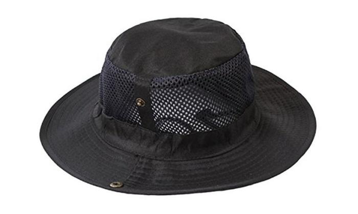 Outdoor Big-brimmed Boonie Cap Cowboy Bucket Hat with Chin Cord