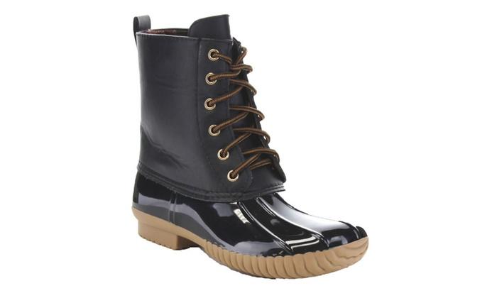 Beston BA14 Women Two Tone Lace Up Combat Style Waterproof Duck Boots