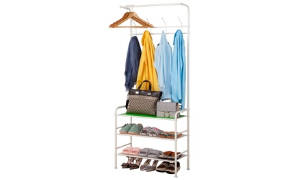 Coat Rack Entryway Bench Storage Shelves with 3-Tier Shoes Clothes Rack