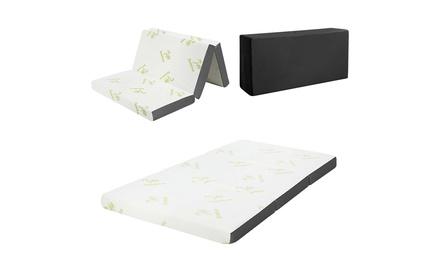 Costway 4'' Tri-Folding Memory Foam Mattress W/ Carry Bag