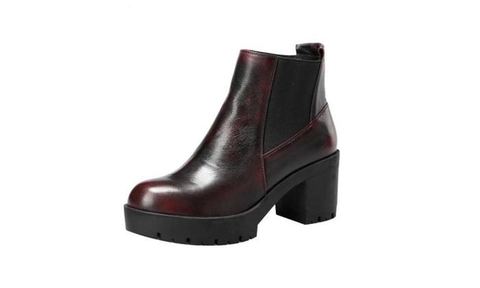 Women's Cattlehide Solid Martin Boots