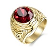 Stainless Steel Retro Gothic Red Stone Men's Ring
