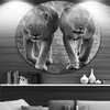 Lions in Black and White' Large Animal Circle Metal Wall Art
