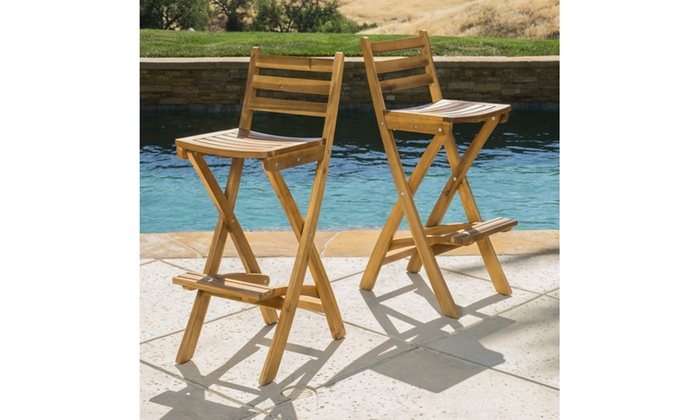 atlantic foldable outdoor wood bar stool set 2 pack groupon