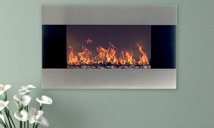 up to 63 off on northwest electric fireplace groupon goods rh groupon com led wall mount electric fireplace by northwest northwest wall-mounted electric fireplace with dual-color leds and remote