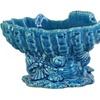 Ceramic Open Valve Clam Shellfish Bowl on Conch Shell Base Finish