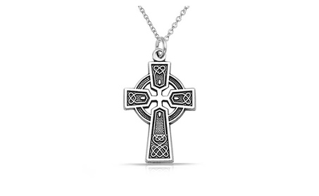 Bling Jewelry Sterling Silver Celtic Trinity Cross Necklace Chain 18in 25268446-f439-4713-969d-cfe58350fa6d
