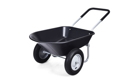2 Tire Wheelbarrow Garden Cart Heavy-duty Dolly Utility Cart Black