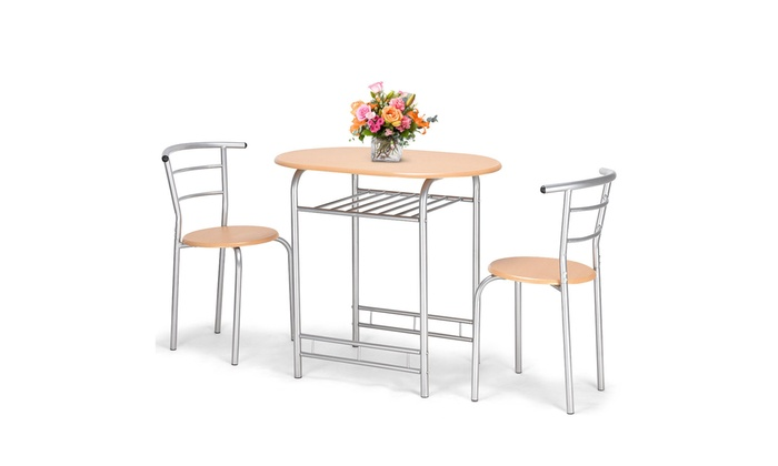 3 PCS Bistro Dining Set Table and 2 Chairs Kitchen Pub Home ...