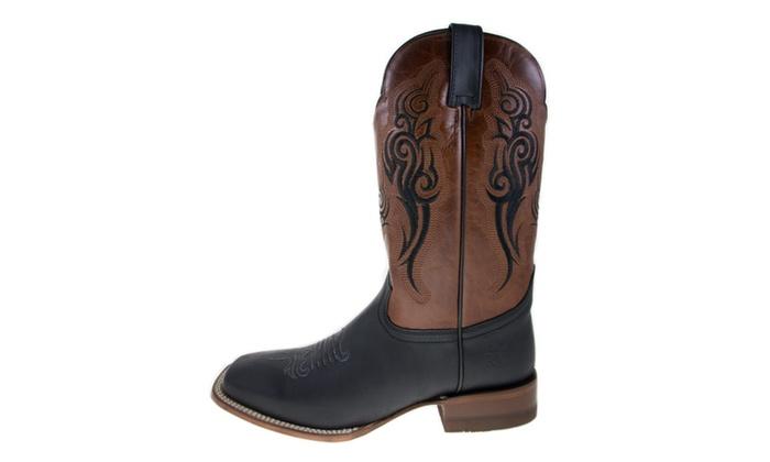 a28c76eed41 ReyWelt Men's Black Brandy Square Toe Western Boot   Groupon