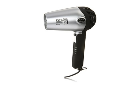 Andis 1875-Watt Fold-N-Go Ionic Hair Dryer, Silver/Black (80020) photo