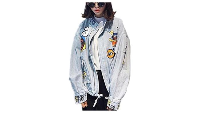 Tengfu Women's Blue Cute Letter Print Bomber Denim Jean Jacket Coat Outwear