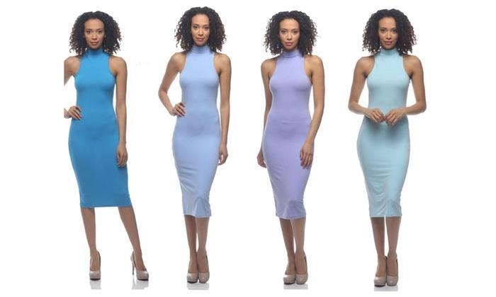 Women's Midi Dress Mock Neck Midi Dress in Blue, Lila, Mint, Aqua
