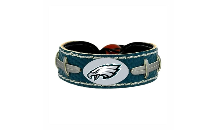 Philadelphia Eagles Team Color NFL Gamewear Leather Football Bracelet