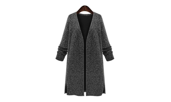 Women's Casual Open Front Windproof Cotton Coats
