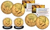 24K Gold Plated 2018 JFK Kennedy Half Dollar U.S. 2-Coin Set - Both P & D Mint