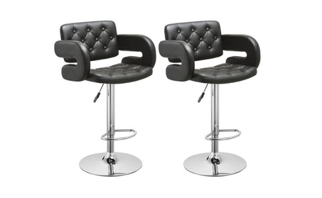 Set of 2 Leather Swivel Bar Stools Hydraulic Pub Chair Adjustable 84f6fbe1-aca2-4cd3-9be4-53924bc1d740