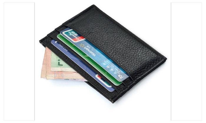 Vintage Slim Credit Card Holder Mini Leather Wallet For Mens