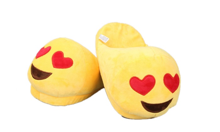 Stuffed Emoji Face Love Smile Bedroom Slippers with Textured
