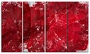 Abstract Red Texture Abstract Metal Wall Art 48x28 4 Panels