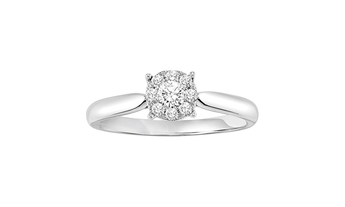 1/4 CTTW Silver Halo Engagement Ring by Cambridge Jewelry | Groupon
