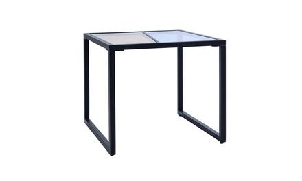 Set of 2 Side End Table Tempered Glass Top Metal Frame Living Room