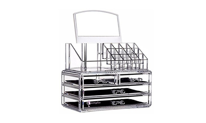 Cq acrylic 4 Drawers16 Grid Makeup Organizer with Cosmetic Storage  sc 1 st  Groupon & Cq acrylic 4 Drawers16 Grid Makeup Organizer with Cosmetic Storage ...