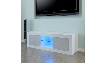 High Gloss TV Stand with LED Lights,Media TV Console Table Storage Cabinet