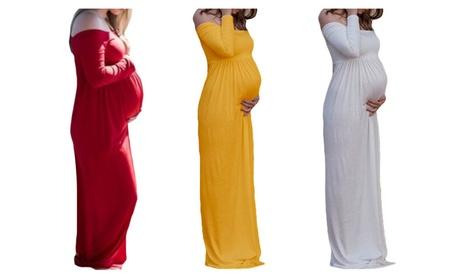 Women Solid Color Maternity Off Shoulder Maxi Dress 84f8744d-142e-49f9-b1f3-cf81279f7cb2