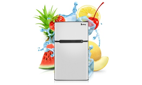 ZOKOP 115V/60Hz 90L/3.2Cu. Ft Household Mini Refrigerator Double Doors Black