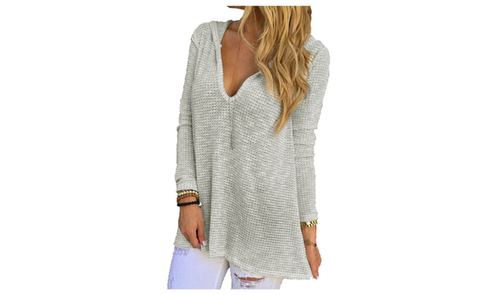 Hooded V-Neck Long Sleeve Grey Loose Knitted Top For Women