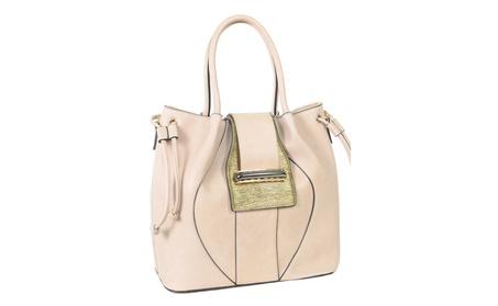 Beige Large Buckle Vegan Leather Womens Satchel Handbag Purse (Goods Women's Fashion Accessories Handbags Satchels) photo