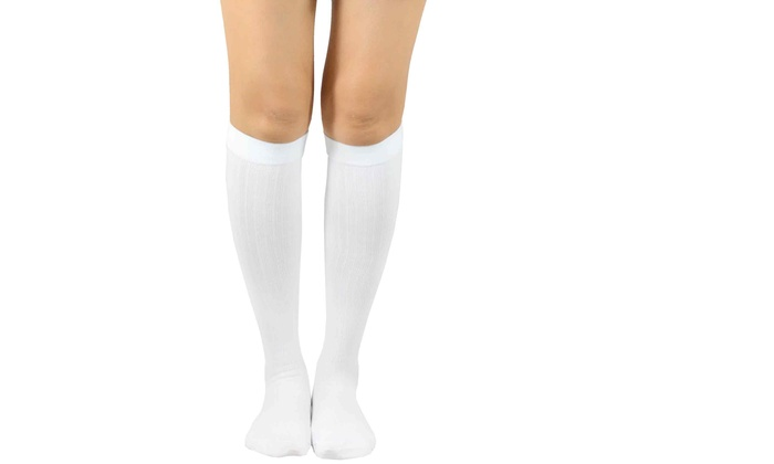8d8107341 TeeHee Compression Knee High Socks with Rib 3-Pack (White)