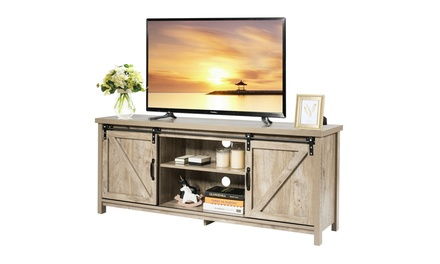 Costway TV Stand Media Center Console Cabinet Sliding Barn Door 2 color