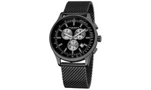 Akribos XXIV Men's Chronograph Mesh Stainless Steel Watch AKGP625
