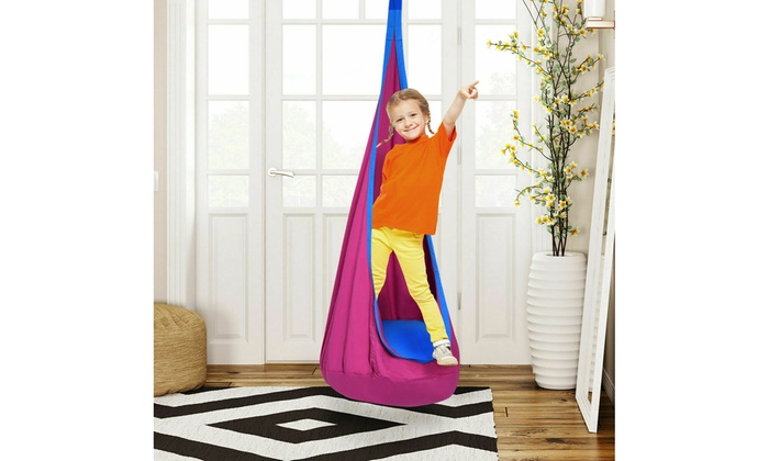 Peachy Child Pod Swing Chair Tent Nook Indoor Outdoor Hanging Seat Hammock Kids Rose Pabps2019 Chair Design Images Pabps2019Com