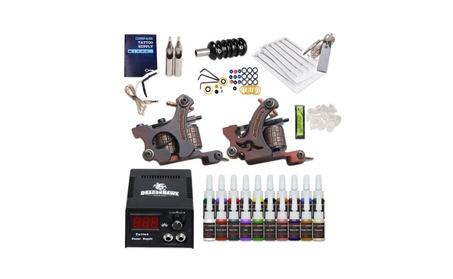 Complete Tattoo Kit 2 Machine Guns Power Supply Grip 20 Color Inks 12280dec-fe94-4f1d-b9f5-66442bdbb42f