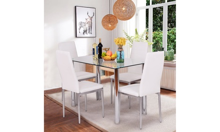 Costway 5 Piece Dining Set Table and 4 Chairs Glass Metal Kitchen Breakfast