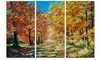 Bright Day in Autumn Forest Landscape Metal Wall Art 36x28 3 Panels