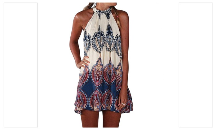 Beach Party Floral Print Halter Sleeveless Mini Dresses