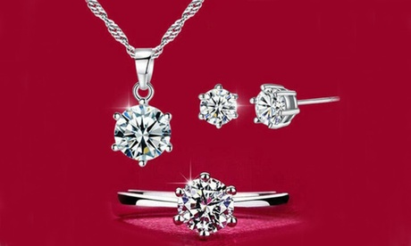 Leo Rosi Necklace & Earrings & Ring Clear Crystals Jewelry Set