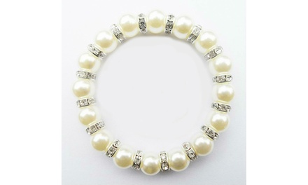 Genuine Freshwater Pearl and Sterling Silver Crystal Stretch Bracelet Was: $42.49 Now: $4.99.