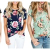 Women Short Sleeve Round Neck Floral Printed Blouse Casual Top T Shirt