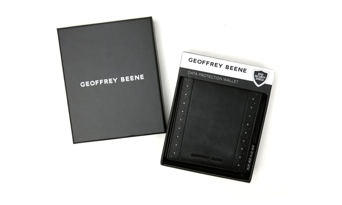 Geoffrey Beene Men's bi-fold wallet with perforated detail and burnished leather