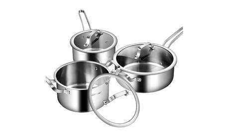 Costway 6 Piece Stainless Steel Cookware Set Nonstick Pot And Pans w/ Glass Lids