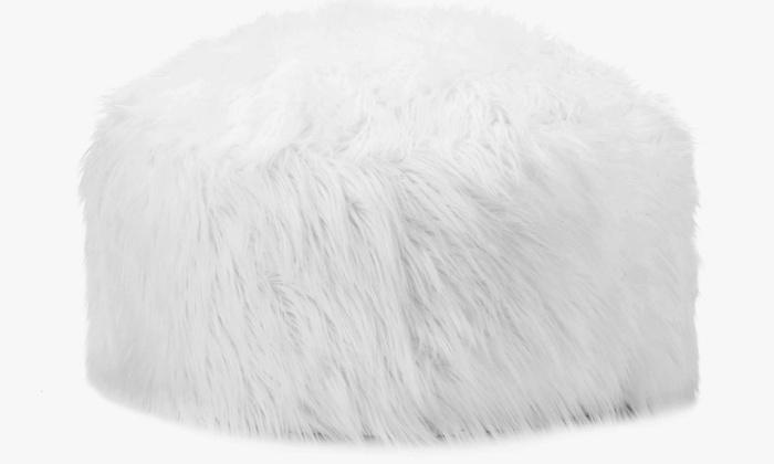 Super Fun Fantastic Faux Fur Large Round Pouf Ottoman Modern Style 23 Diameter Pdpeps Interior Chair Design Pdpepsorg